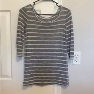 Gray and white stripped long sleeve top